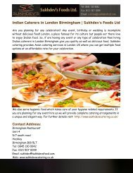 Indian Caterers in London Birmingham- Sukhdev's Foods Ltd
