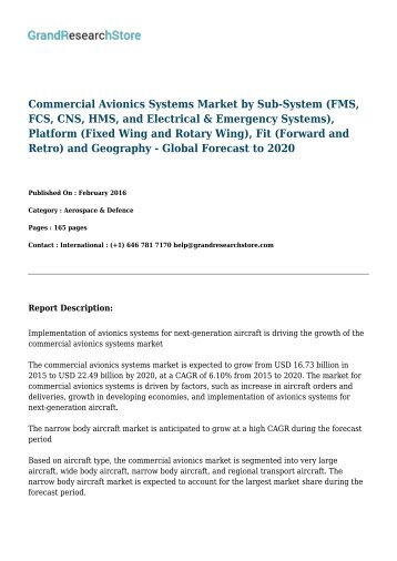 Commercial Avionics Systems Market - Global Forecast to 2020