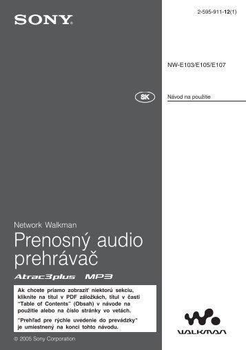 Sony NW-E103 - NW-E103 Istruzioni per l'uso Slovacco