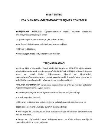 """MEB YEĞİTEK EBA """"ANILARLA ÖĞRETMENLİK"""" YARIŞMASI YÖNERGESİ"""