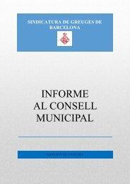 INFORME AL CONSELL MUNICIPAL