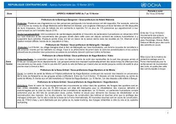 REPUBLIQUE CENTRAFRICAINE  Aperçu humanitaire (au 13 février 2017)