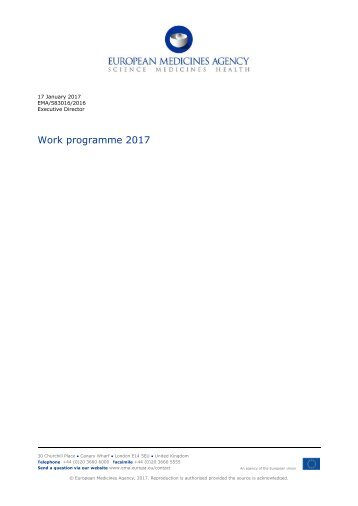 Work programme 2017