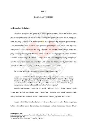 BAB II LANDASAN TEORITIS 2.1 Kesalahan Berbahasa Kesalahan ...