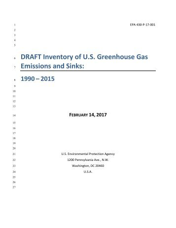 DRAFT Inventory of U.S Greenhouse Gas Emissions and Sinks
