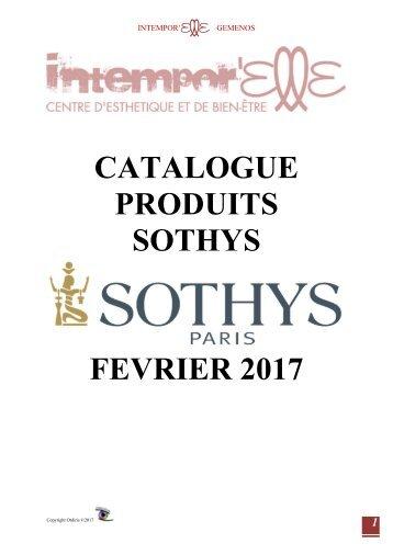 Catalogue Produits Sothys - Intitut Intempor'Elle - Février 2017