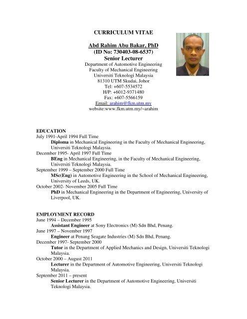 CURRICULUM VITAE Abd Rahim Abu Bakar PhD ID No
