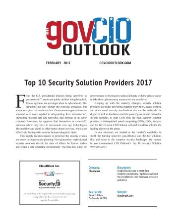 CloudMask - Top 10 Security Solution Providers 2017