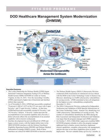 DOD Healthcare Management System Modernization (DHMSM)