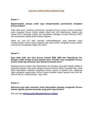 SOALAN LAZIM KURSUS INDUKSI - Kementerian Perumahan dan ...
