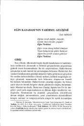 EGİN KASABASPNIN TARİHSEL GELİşİMİ - Ankara Üniversitesi ...