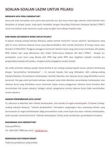 soalan-soalan lazim untuk pelaku - Recording Performers Malaysia ...