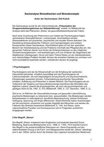 Sachanalyse Stresstheorien und Stresskonzepte - QuePNet