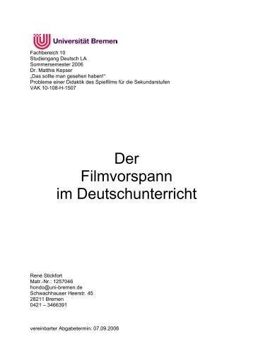 Der Filmvorspann im Deutschunterricht - Fachbereich 10