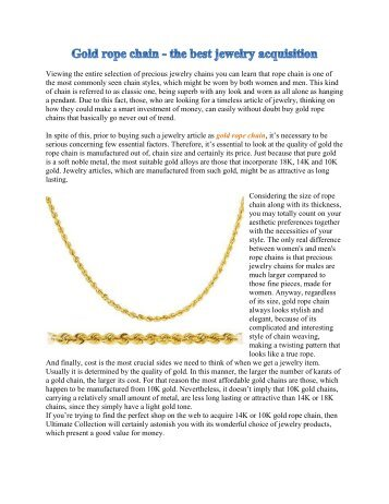 Gold rope chain - the best jewelry acquisition