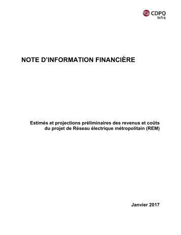 NOTE D'INFORMATION FINANCIÈRE