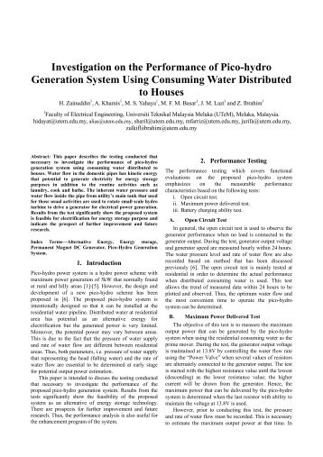 Investigation on the Performance of Pico-hydro Generation System ...