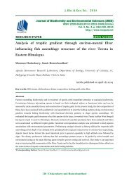 Analysis of trophic gradient through environ-mental filter influencing fish assemblage structure of the river Teesta in Eastern Himalayas