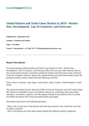 Global Kitchen and Toilet Linen Market to 2019 - Market Size, Development, Top 10 Countries, and Forecasts
