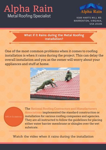 What if it Rains during the Metal Roofing Installation?