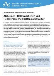 Alzheimer – Halbwahrheiten und Heilsversprechen helfen nicht weiter