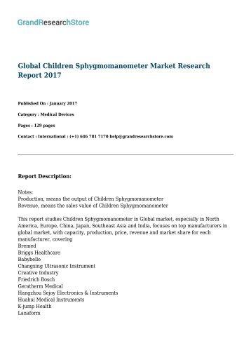 Global Children Sphygmomanometer Market Research Report 2017