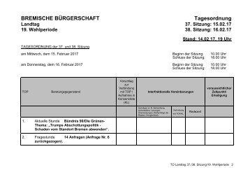 BREMISCHE BÜRGERSCHAFT Tagesordnung