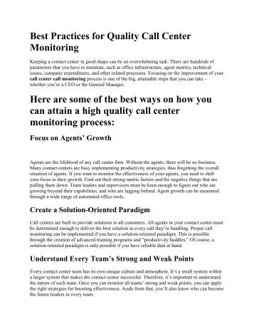 Best Practices for Quality Call Center Monitoring