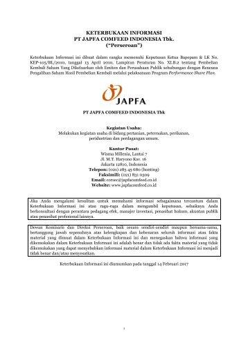 "KETERBUKAAN INFORMASI PT JAPFA COMFEED INDONESIA Tbk (""Perseroan"")"