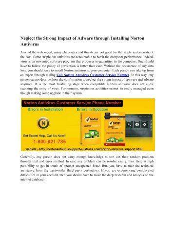 Norton Antivirus Customer Service Number | http://www.nortonantivirussupport-australia.com/norton-antivirus-support.html