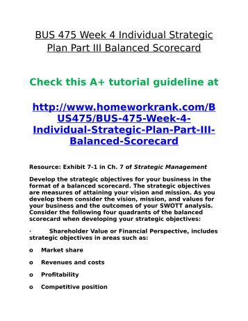 Strategic Plan Part III: Balanced Scorecard for Microsoft Corporation