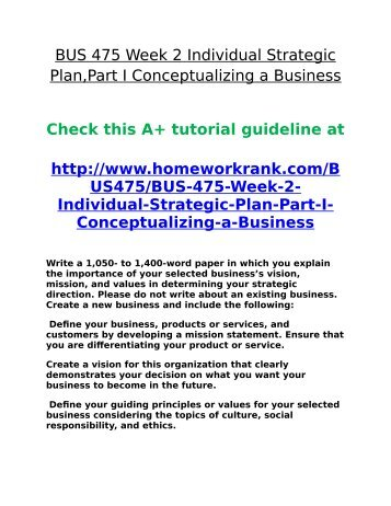 Strategic Plan, Part I: Conceptualizing a Business - Essay Example