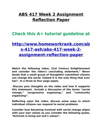 ABS 417 Week 2 Assignment Reflection Paper