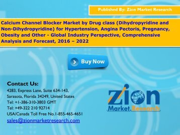 Calcium Channel Blocker Market, 2016 – 2022