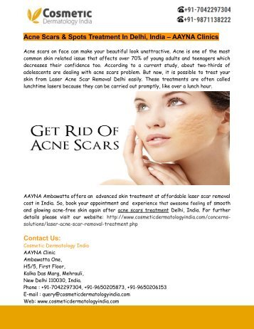 Acne Scars & Spots Treatment In Delhi, India – AAYNA Clinics