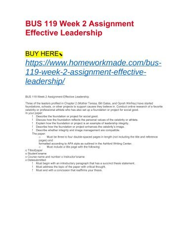 BUS 119 Week 2 Assignment Effective Leadership