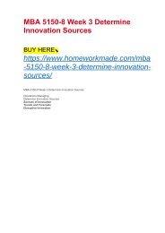MBA 5150-8 Week 3 Determine Innovation Sources