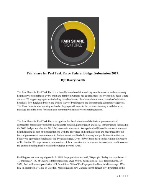 Fair Share For Peel Task Force Federal Budget Submission 2017 By Darryl Wolk