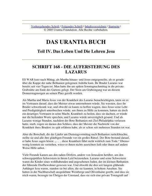 Das Urantia Buch - Schrift 168 - Die Auferstehung des Lazarus