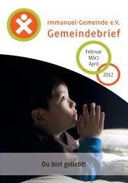 Du bist geliebt! Gemeindebrief - Immanuel Gemeinde Frankfurt