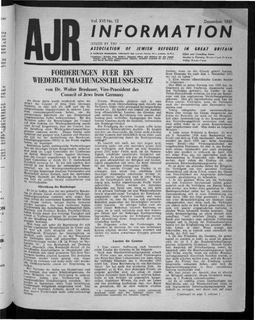 Feiichtwanger (London) Ltd. - The Association of Jewish Refugees
