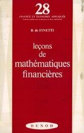 (Finance et économie appliquée 28) Bruno de Finetti-Leçons de mathématiques financières-Dunod (1969)