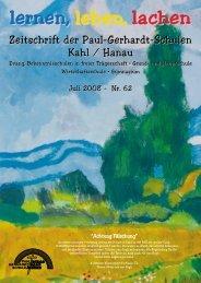 Schulzeitung Nr. 62 (07/2008) - Paul-Gerhardt-Schule Kahl