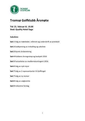 Tromsø Golfklubb Årsmøte
