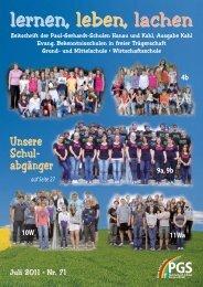 Schulzeitung Nr. 71 (07/2011) - Paul-Gerhardt-Schule Kahl