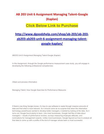 AB 203 Unit 6 Assignment Managing Talent-Google (Kaplan)