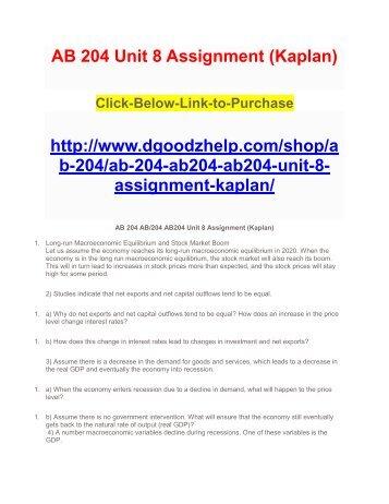 AB 204 Unit 8 Assignment (Kaplan)