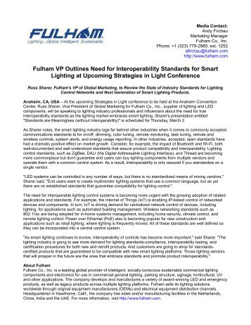 Fulham VP Outlines Need for Interoperability Standards for Smart Lighting at Upcoming Strategies in Light Conference