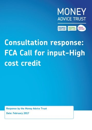 Consultation response FCA Call for input-High cost credit