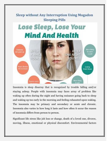 Sleep without Any Disturbance with the help of Mogadon Nitrazepam Pills